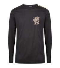 Balmain Embroidered Logo Long Sleeve T Shirt Male Black