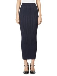 Kenzo Body Con Rib Knit Midi Skirt Navy Blue