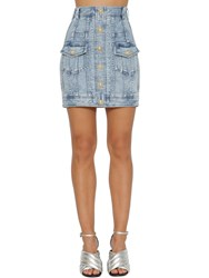 Balmain Stretch Cotton Denim Pencil Mini Skirt