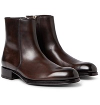 Tom Ford Edgar Burnished Leather Boots Dark Brown