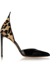 Francesco Russo D'orsay Leopard Print Calf Hair And Patent Leather Pumps