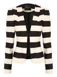 Jane Norman Striped Blazer Black