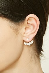 Forever 21 Faux Pearl Ear Jackets Gold Cream