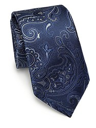 Saks Fifth Avenue Paisley Silk Tie Navy