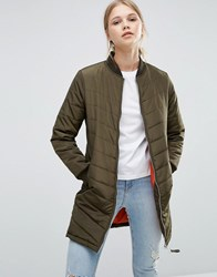 Brave Soul Longline Quilted Bomber Jacket Khaki Green