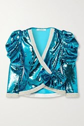 Rodarte Embellished Sequined Chiffon Wrap Jacket Teal