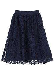 Alice Olivia Joyce Navy Lace Skirt Blue