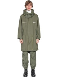 Ambush Hooded Cotton Parka Coat Green