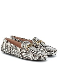 Tod's Gommino Python Loafers Grey