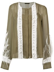 Sally Lapointe Pin Tuck Embroidered Blouse Women Silk Polyamide Viscose Ostrich Feather 0 Green