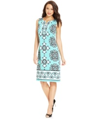Jm Collection Petite Printed Split Neck Dress Teal Scroll