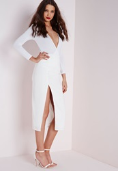Missguided Thigh Split Crepe Longline Midi Skirt White White