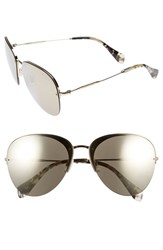 Women's Miu Miu 60Mm Semi Rimless Aviator Sunglasses Gold Brown Mirror