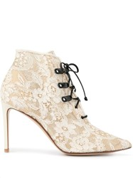 Francesco Russo Lace Textured Ankle Boots 60