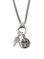 King Baby Studio Baroque Sterling Silver Skull Coin And Wing Pendant Necklace