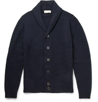 John Smedley Medley Patteron Hawl Collar Merino Wool And Cahmere Blend Cardigan Navy
