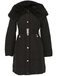 David Barry Shawl Faux Fur Collar Padded Coat Black