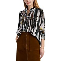 Leo And Sage Abstract Print Silk Button Down Shirt Multi