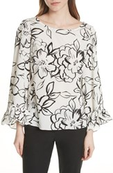 Tracy Reese Flounced Floral Top Neutral Floral