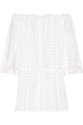 Miguelina Tabitha Off The Shoulder Crochet Paneled Cotton Voile Dress