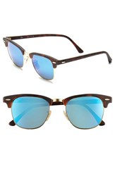 Men's Ray Ban 'Flash Clubmaster' 51Mm Sunglasses Tortoise Blue Mirror