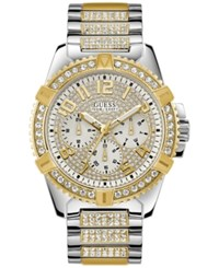 Guess Men's Pave Crystal Set Two Tone Stainless Steel Bracelet Watch 50Mm Two Tone Gold