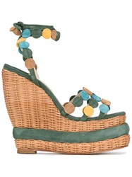 Paloma Barcelo Wedged Sandals Green
