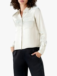 Pure Collection Satin Utility Blouse Pearl Silver