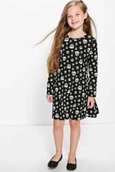 Boohoo Skull Print Swing Dress Black
