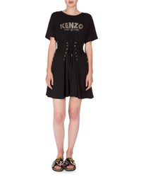 Kenzo Short Sleeve Laced Fit And Flare Dress Black