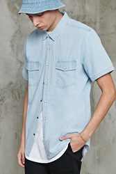 Forever 21 Boxy Denim Shirt Light Denim