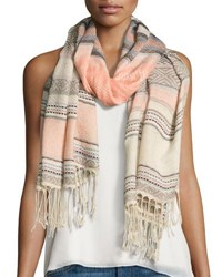 Neiman Marcus Turkish Towel Striped Scarf Pink
