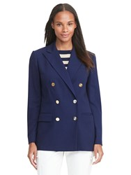Lauren Ralph Lauren Double Breasted Wool Blazer Navy