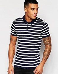 Asos Stripe Muscle Polo In Rib Navy
