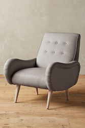 Anthropologie Linen Losange Chair Light Grey
