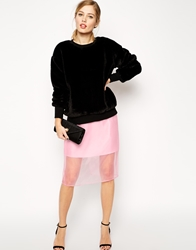 Asos Pencil Skirt With Sheer Layer Pink