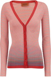 Missoni Striped Cotton Blend Cardigan Red