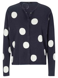 Oui Large Spot Cardigan Blue White