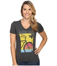 Life Is Good Ride On Bicycle Cool Vee Night Black Women's T Shirt