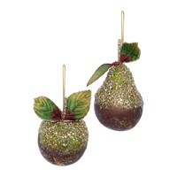 Amara Beaded Pear And Apple Tree Decoration Set Of 2 Green