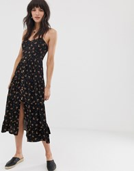 Band Of Gypsies Button Front Tiered Midaxi Dress In Black Floral Print