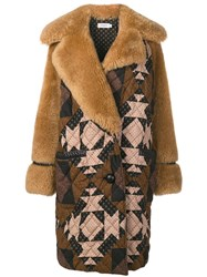 Coach Patchwork Shearling Overcoat Brown