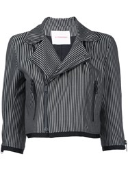 A.F.Vandevorst Stripe Cropped Jacket Women Polyester Wool 38 Grey