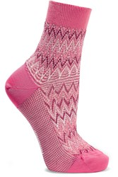 Missoni Metallic Crochet Knit Cotton Blend Socks Pink