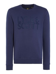 Lyle And Scott Men's Graphic Crew Neck Sweatshirt Navy