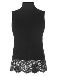 Karen Millen Sheer Lace Hem Knit Top Black