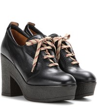 See By Chloe Platform Lace Up Leather Ankle Boots Black