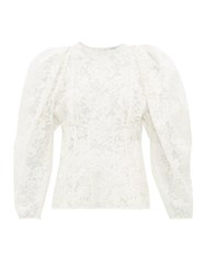 Givenchy Puff Sleeve Cotton Blend Chantilly Lace Top White
