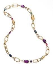 Marco Bicego Murano Semi Precious Multi Stone And 18K Yellow Gold Long Link Necklace Gold Multi
