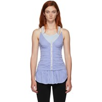 Alexander Wang Blue And White Ruched Zipper Tank Top